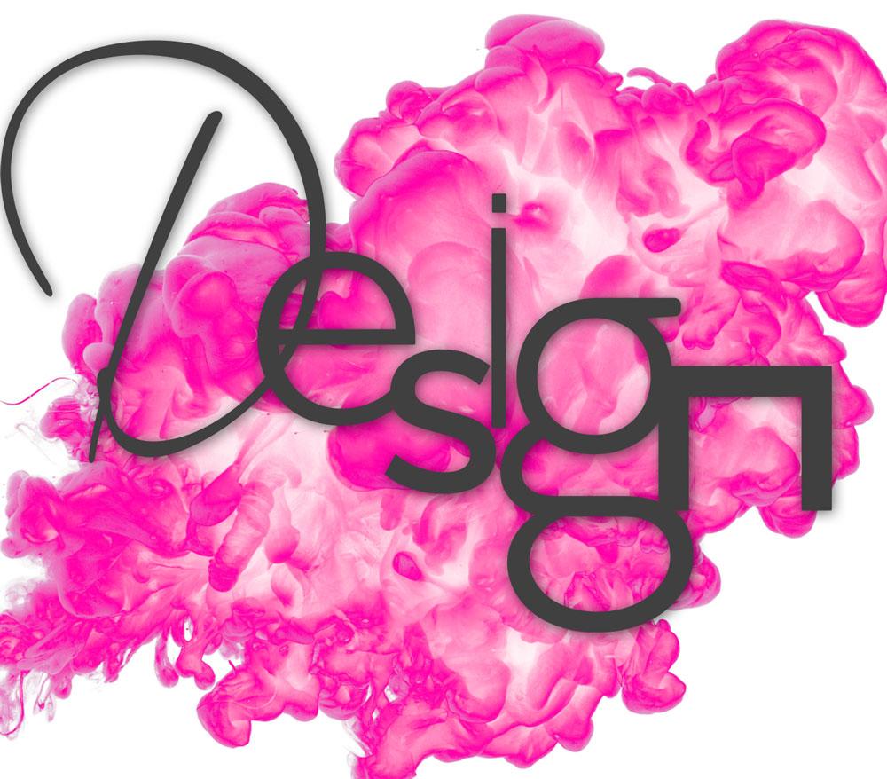 """pinker Klecks mit Begriff """"Design"""""""