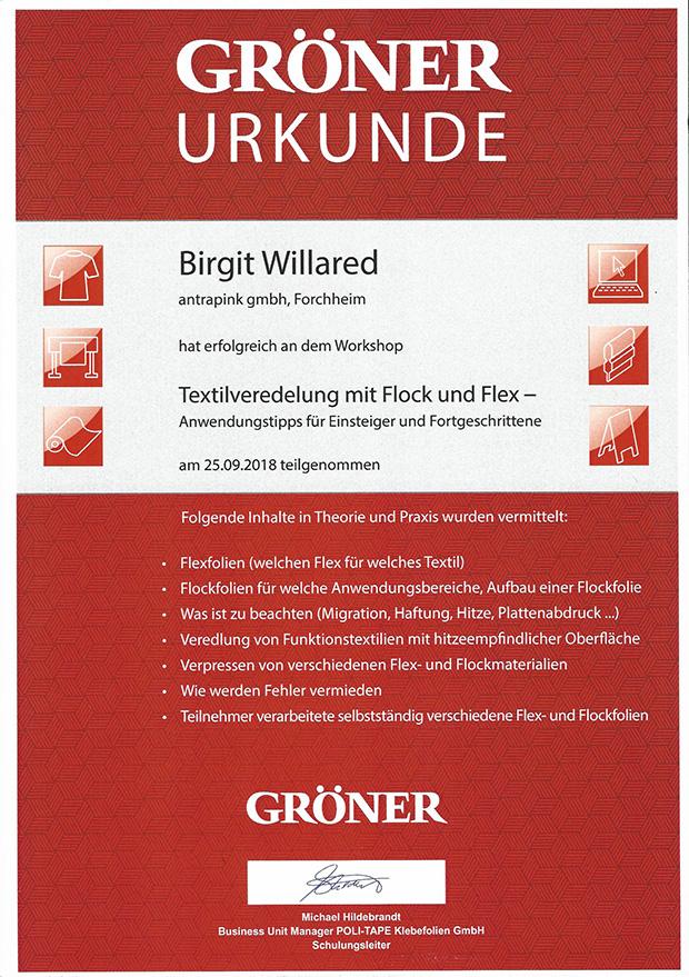 Urkunde Textilveredelung Birgit Willared