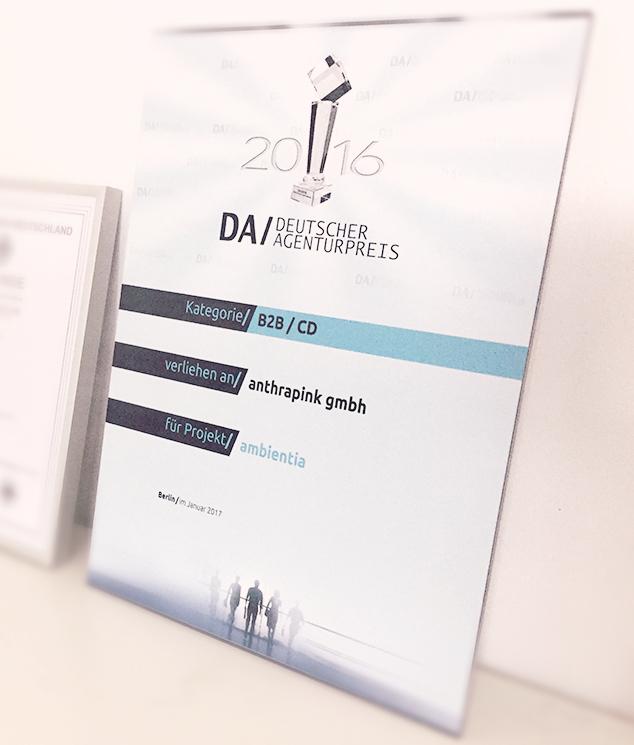 Deutscher Agenturpreis 2016 Urkunde