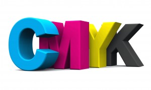 Druckfarben Cyan, Magenta, Yellow und Key